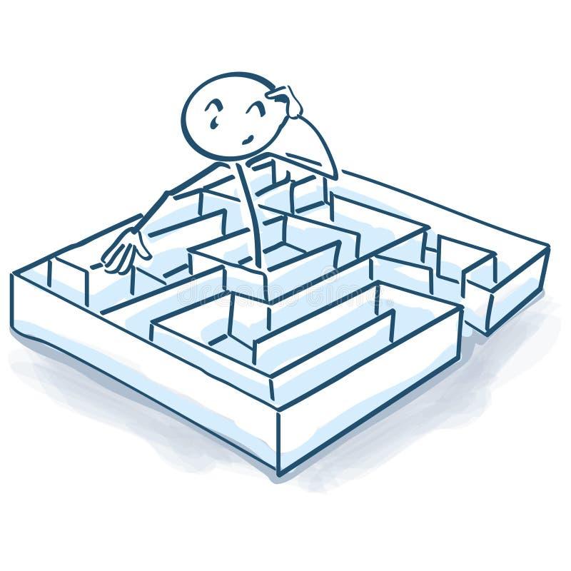 在迷宫和迷宫的棍子形象 库存例证