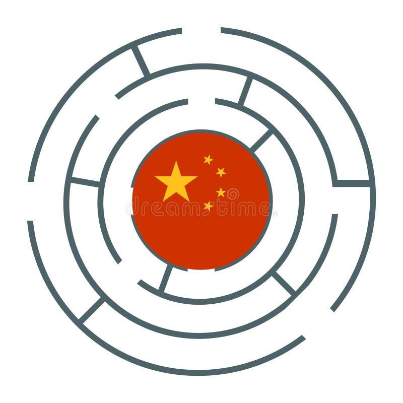 在迷宫的中国旗子 皇族释放例证