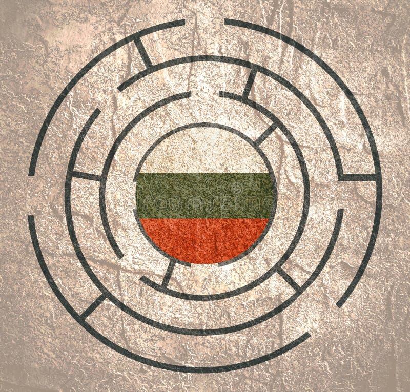 在迷宫的保加利亚旗子 向量例证