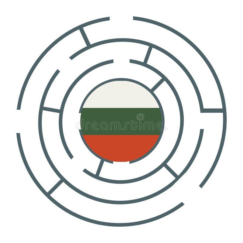 在迷宫的保加利亚旗子 库存例证