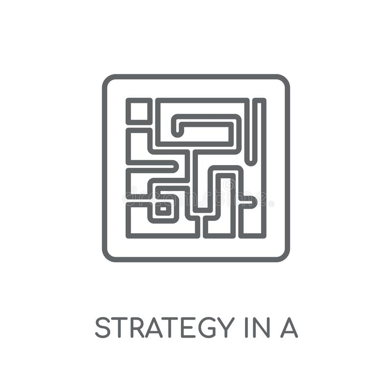 在迷宫线性象的战略 现代概述战略 皇族释放例证
