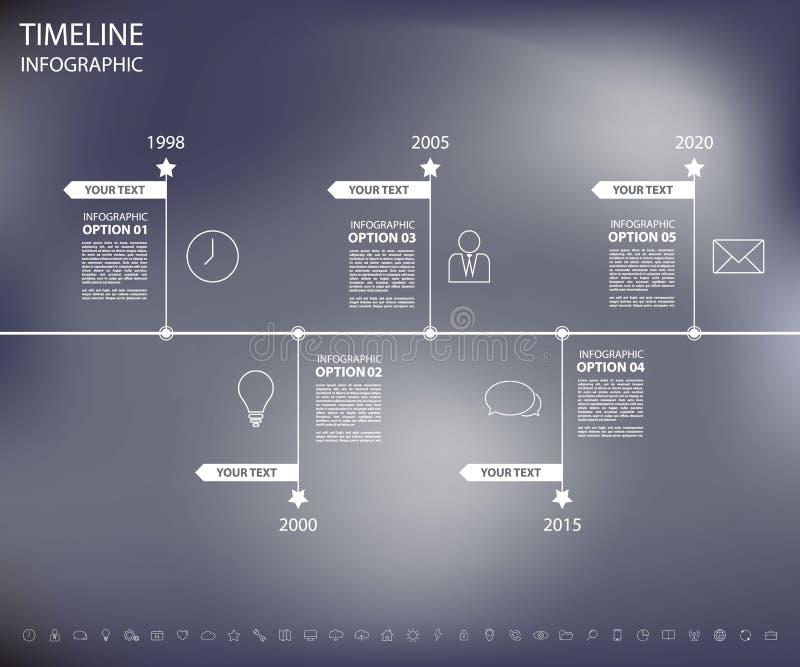在迷离背景的步设计干净的数字时间安排模板 皇族释放例证