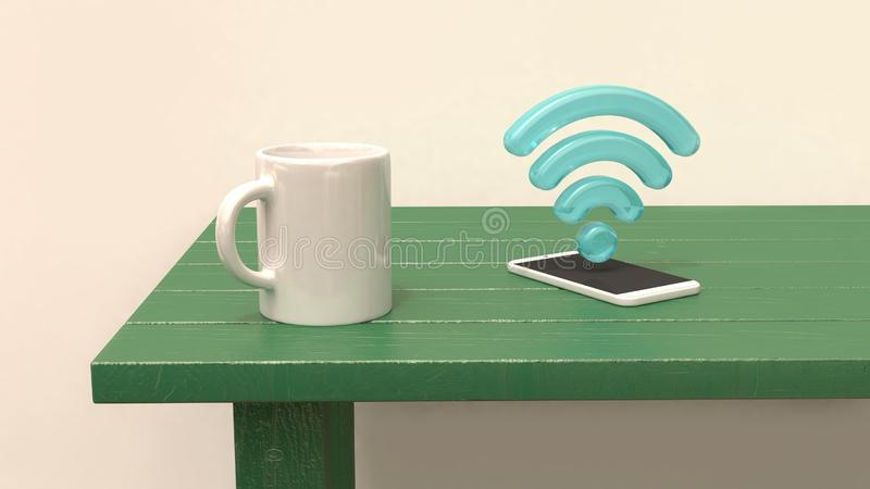 在选材台智能手机和3d wifi象蓝色3d的白色杯子回报 皇族释放例证