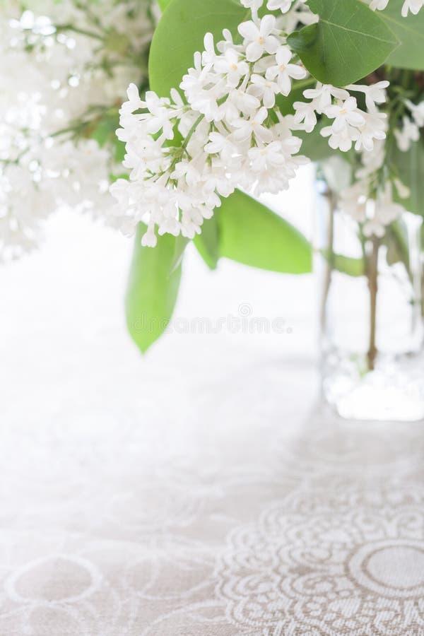 在透明一杯的容量的白色开花的丁香在亚麻布仿造了桌布 高关键字 图库摄影