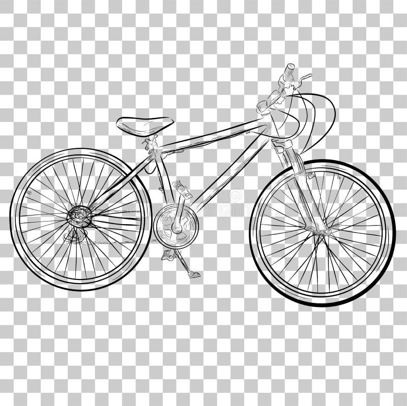 在透明作用背景的简单的概略登山车 皇族释放例证