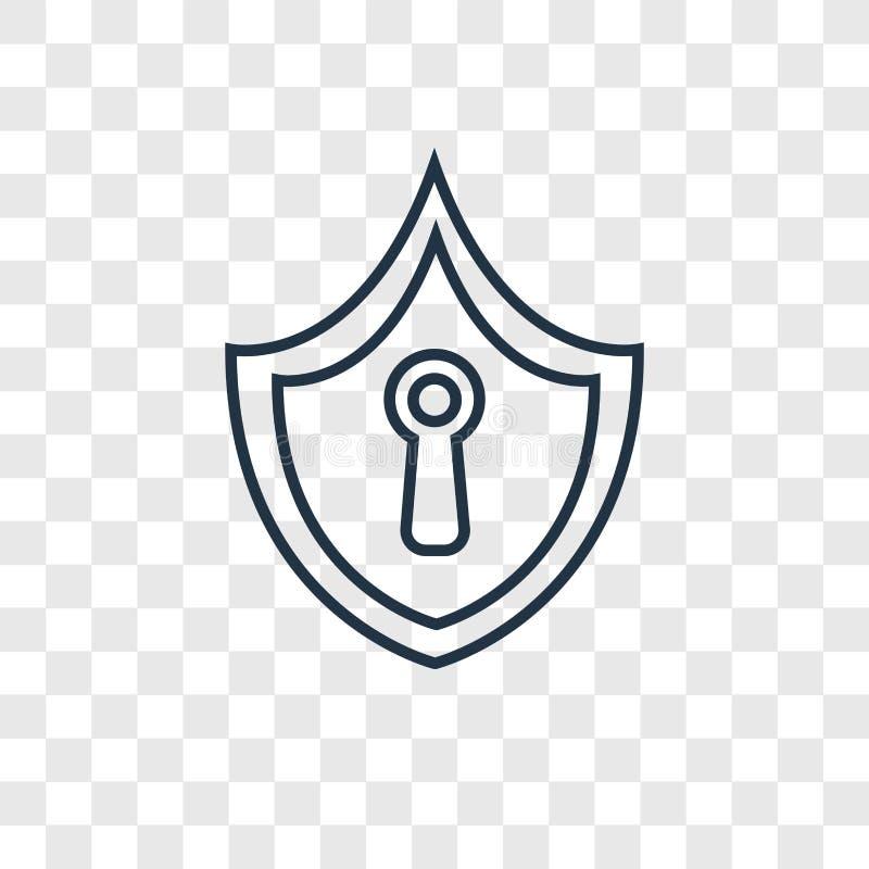 在透明后面隔绝的安全概念传染媒介线性象 库存例证