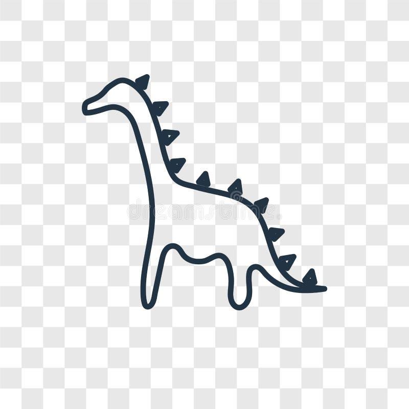在透明后面隔绝的恐龙概念传染媒介线性象 向量例证