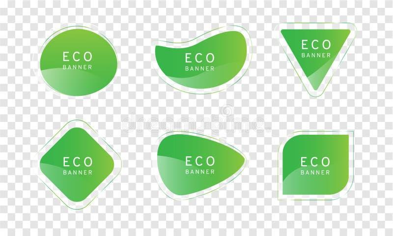 在透明度背景,典雅的光滑的元素传染媒介设计,装饰的自由格式形状的绿色清楚的水晶eco横幅和 库存例证