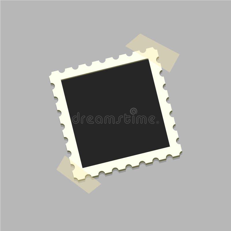 在透明度胶带上的平的传染媒介照片框架 模板照片设计 在简单的样式的传染媒介例证设计的 皇族释放例证