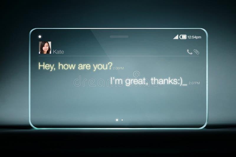 在透明片剂的Sms闲谈有蓝色背景 库存图片