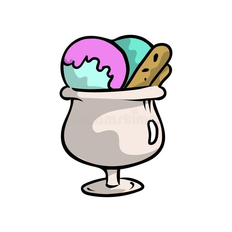 在透明玻璃的五颜六色的甜冰淇淋球 皇族释放例证