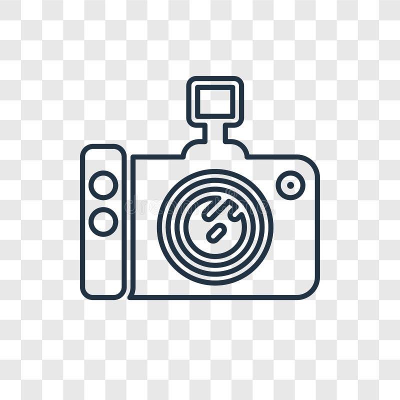 在透明的照片照相机概念传染媒介线性象 向量例证