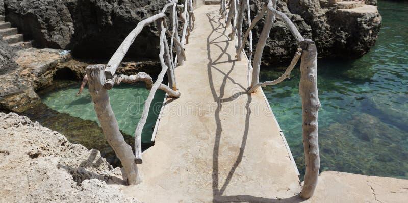 在透明的水上的桥梁 免版税库存图片