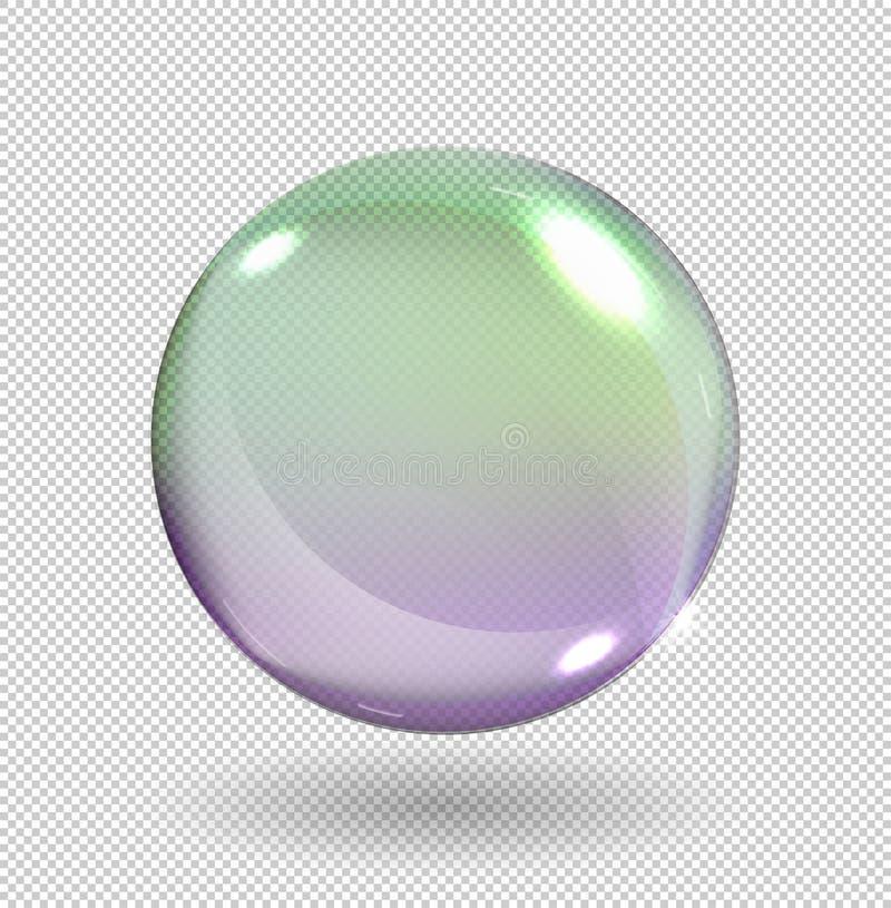 在透明背景与彩虹反射的现实肥皂泡隔绝的 也corel凹道例证向量 库存例证