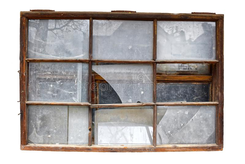 在透明背景中隔绝的老打破的Windows 库存例证