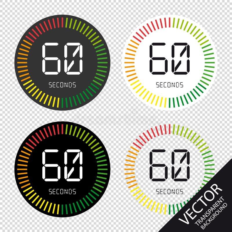 在透明背景和时钟, 60秒-传染媒介例证-隔绝的时间 库存例证