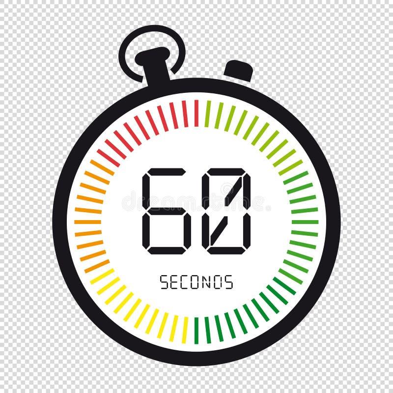 在透明背景和时钟,60秒-传染媒介例证-隔绝的时间 库存例证