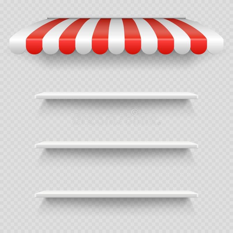 在透明背景在镶边白色和红色遮光罩传染媒介下的空的白色商店架子隔绝的 库存例证