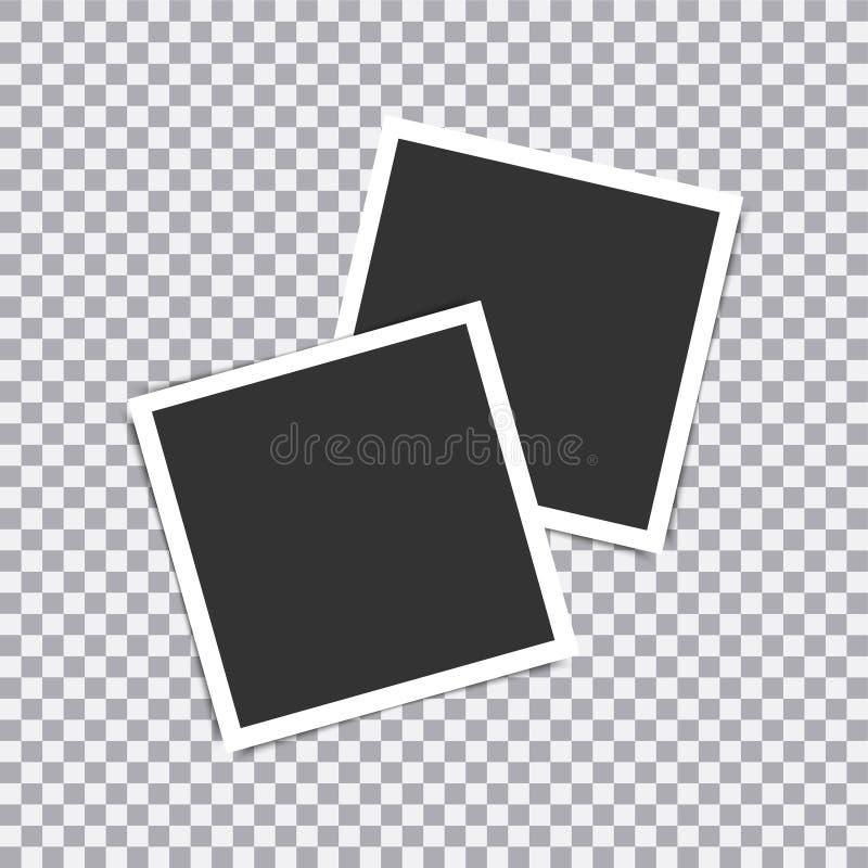 在透明背景安置的减速火箭的现实传染媒介照片框架 例证 库存例证