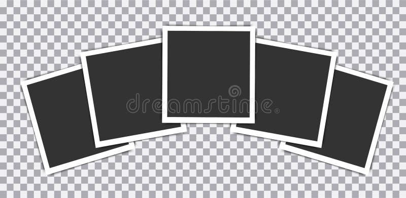 在透明背景安置的减速火箭的现实传染媒介照片框架 例证 皇族释放例证