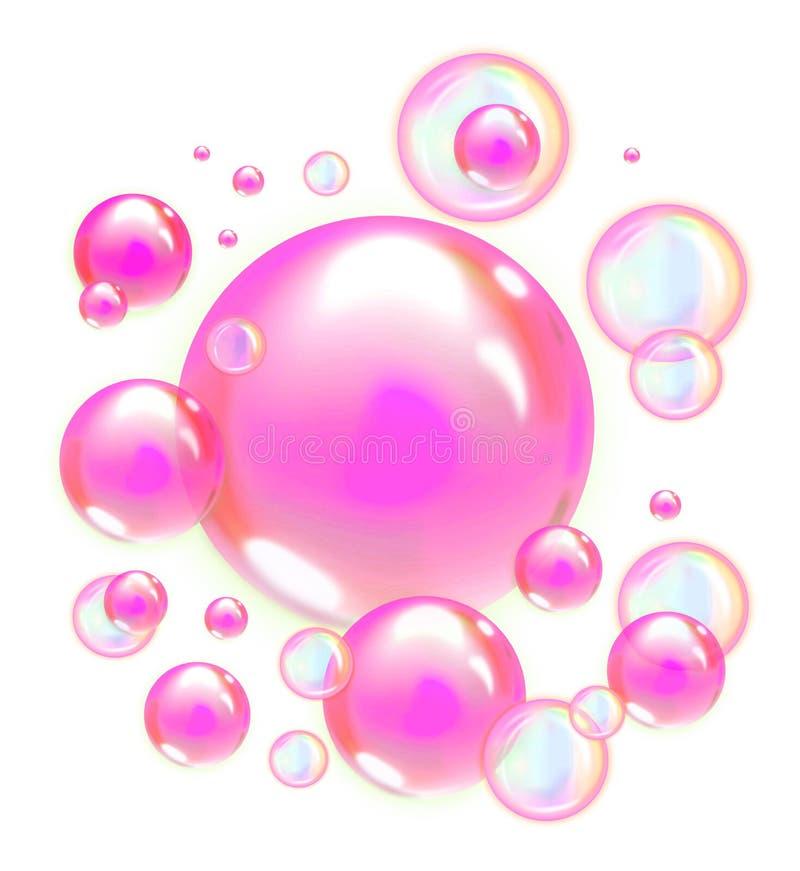 在透明背景或珍珠隔绝的桃红色肥皂泡 皇族释放例证