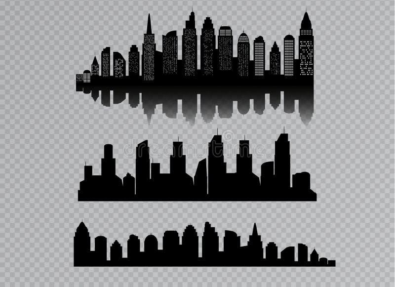 在透明背景有黑色的隔绝的城市剪影  在一个平的样式 横向现代都市 皇族释放例证