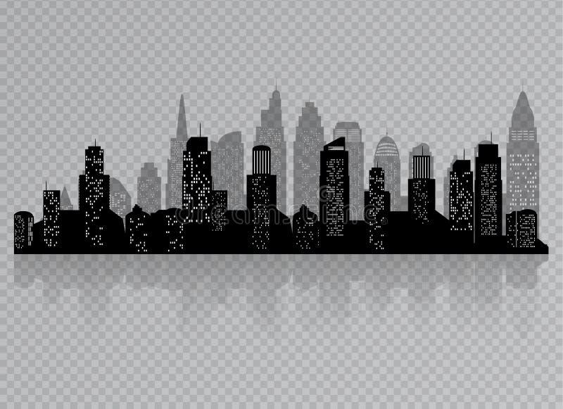 在透明背景有黑色的隔绝的城市剪影  在一个平的样式 横向现代都市 向量例证