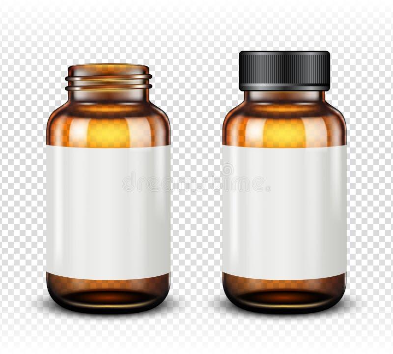 在透明背景棕色玻璃隔绝的医学瓶 皇族释放例证