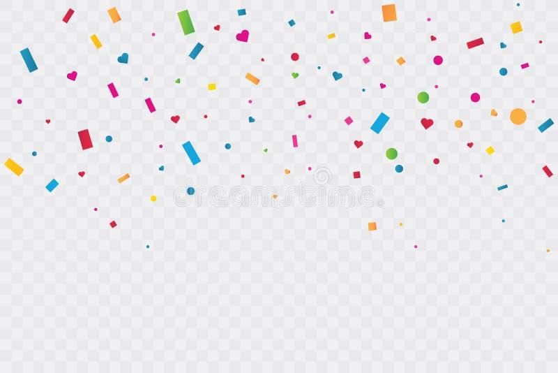 在透明背景的五颜六色的五彩纸屑 庆祝党 r 向量例证