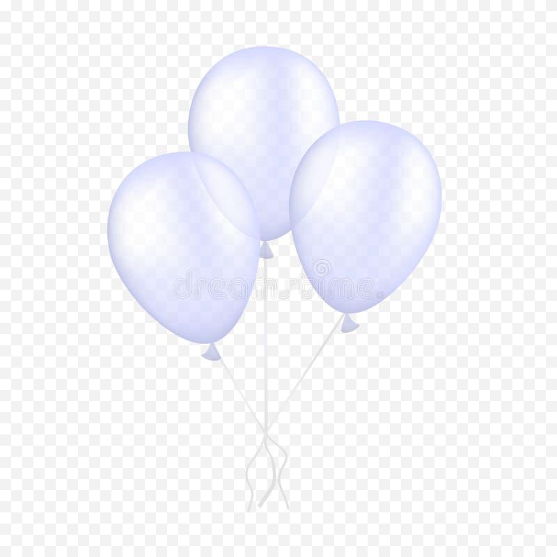 在透明背景的传染媒介白色气球 3d现实节日快乐飞行的空气氦气气球 向量例证