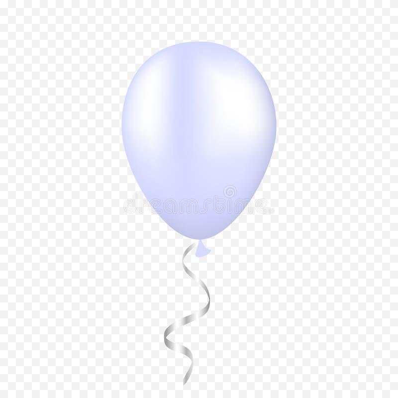在透明背景的传染媒介白色气球 3d现实节日快乐飞行的空气氦气气球 皇族释放例证