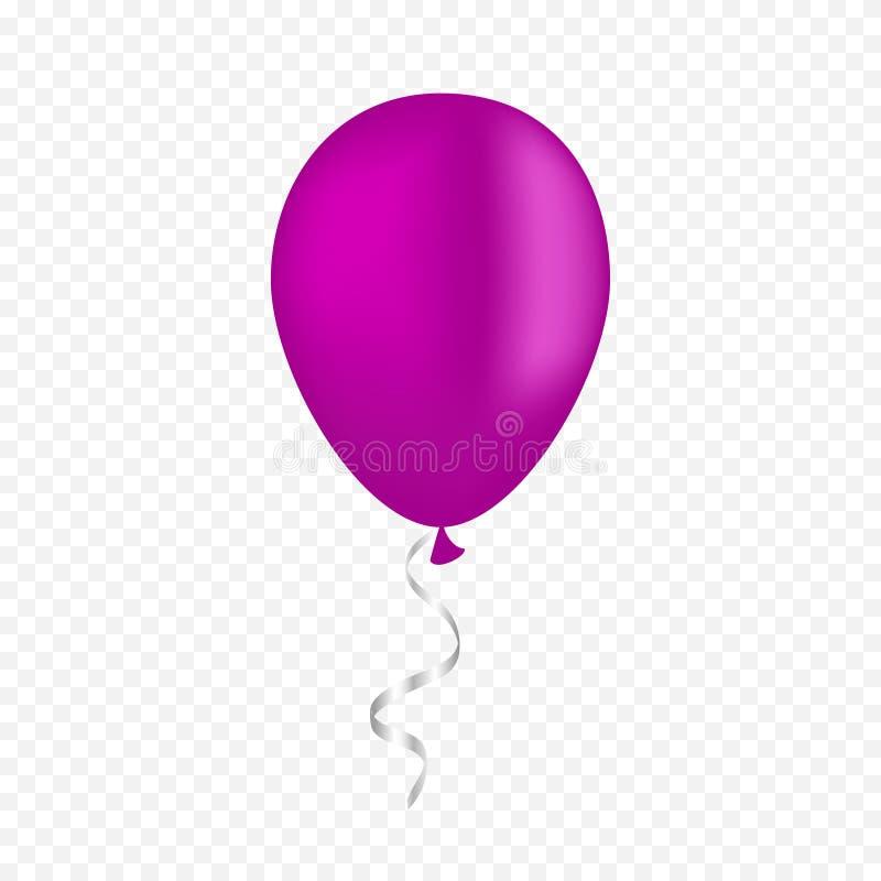 在透明背景的传染媒介白色气球 3d现实节日快乐飞行的空气氦气气球 库存例证