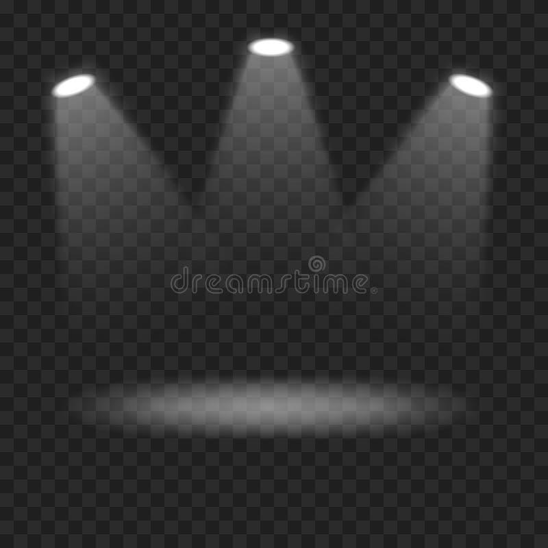 在透明背景的传染媒介聚光灯 皇族释放例证