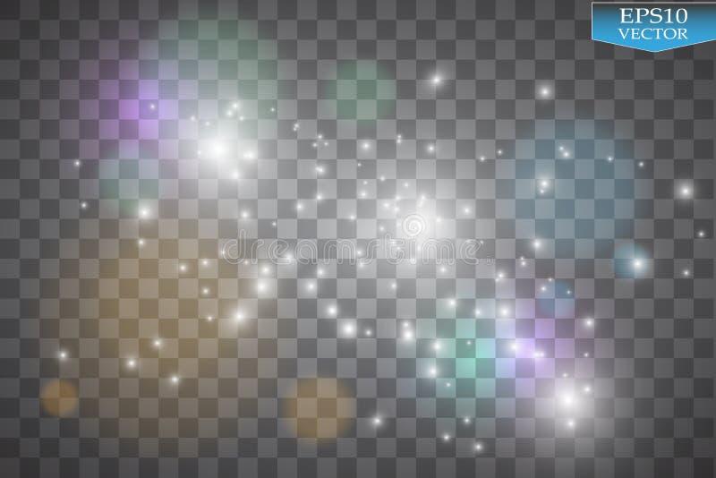 在透明背景的光 传染媒介白色闪烁波浪摘要例证 闪耀白色星团的足迹
