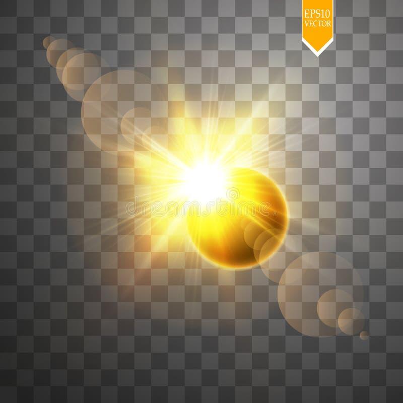 在透明背景的全日蚀传染媒介例证 满月阴影与光环传染媒介的太阳蚀 向量例证