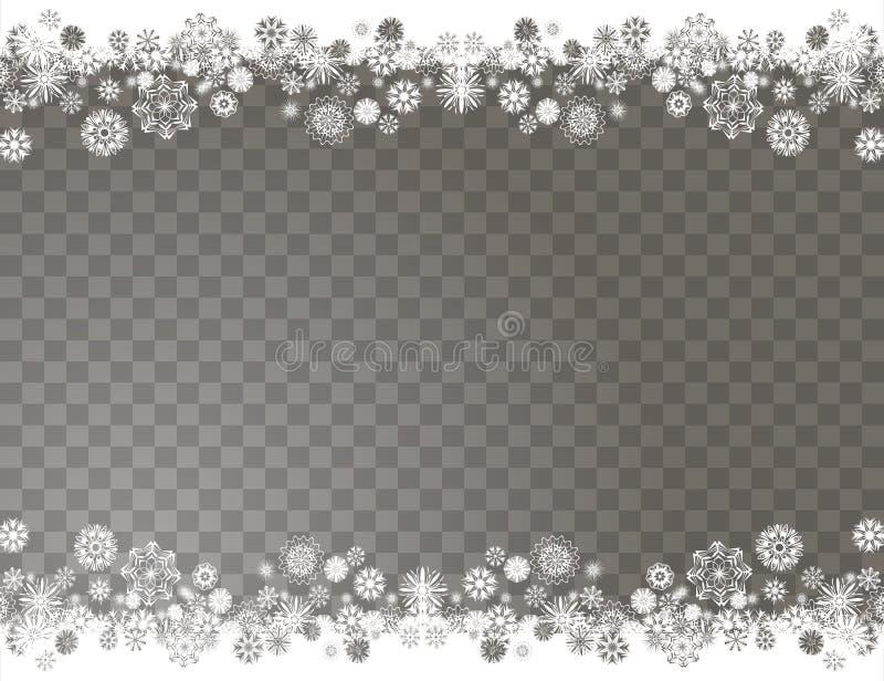 在透明背景的典雅的雪边界 您的圣诞快乐和新年快乐设计的抽象雪花背景 向量例证
