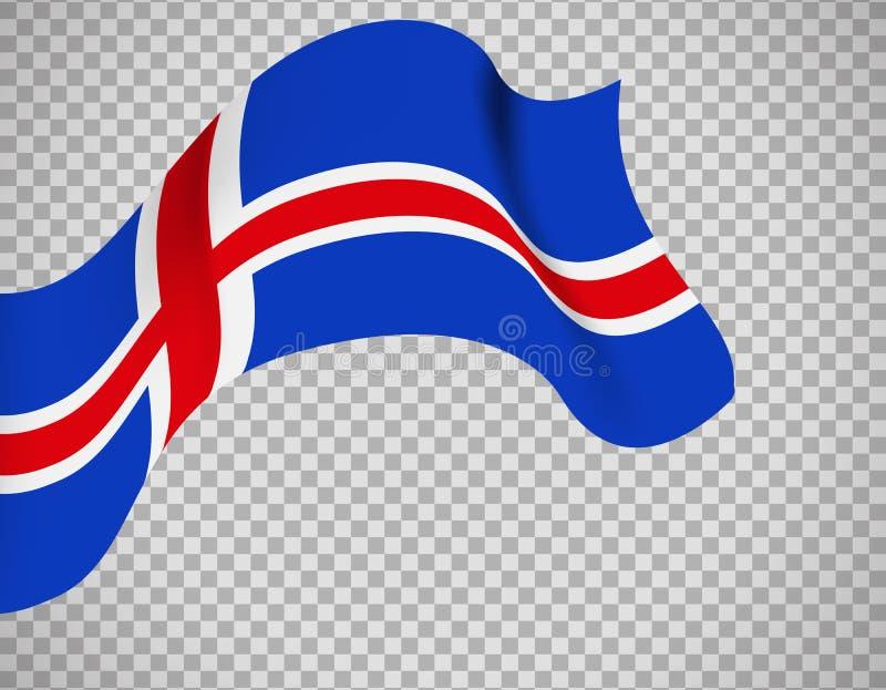 在透明背景的冰岛旗子 向量例证