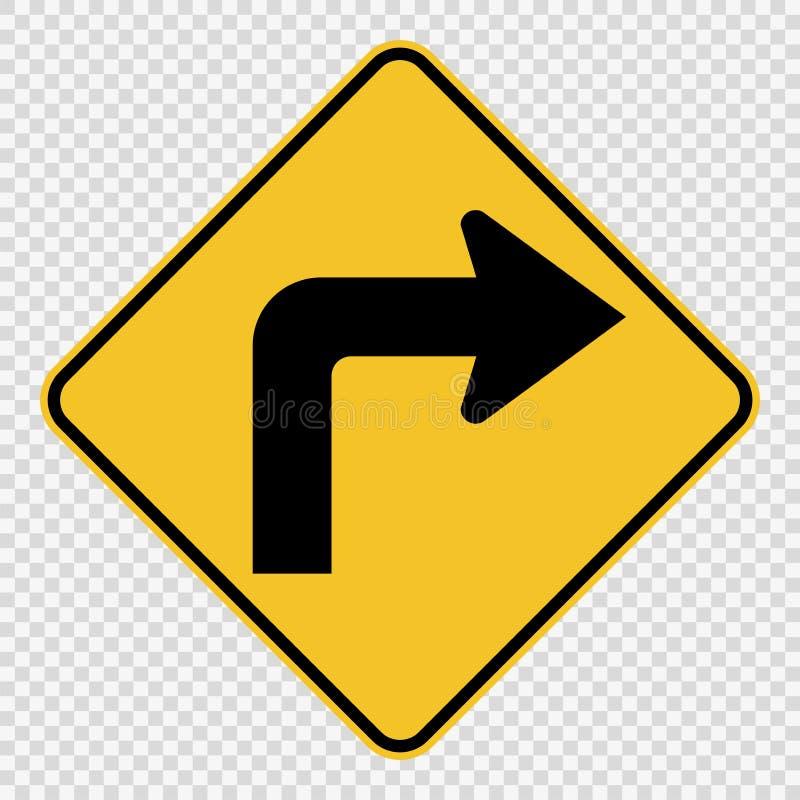 在透明背景的前面向右转的交通标志 皇族释放例证