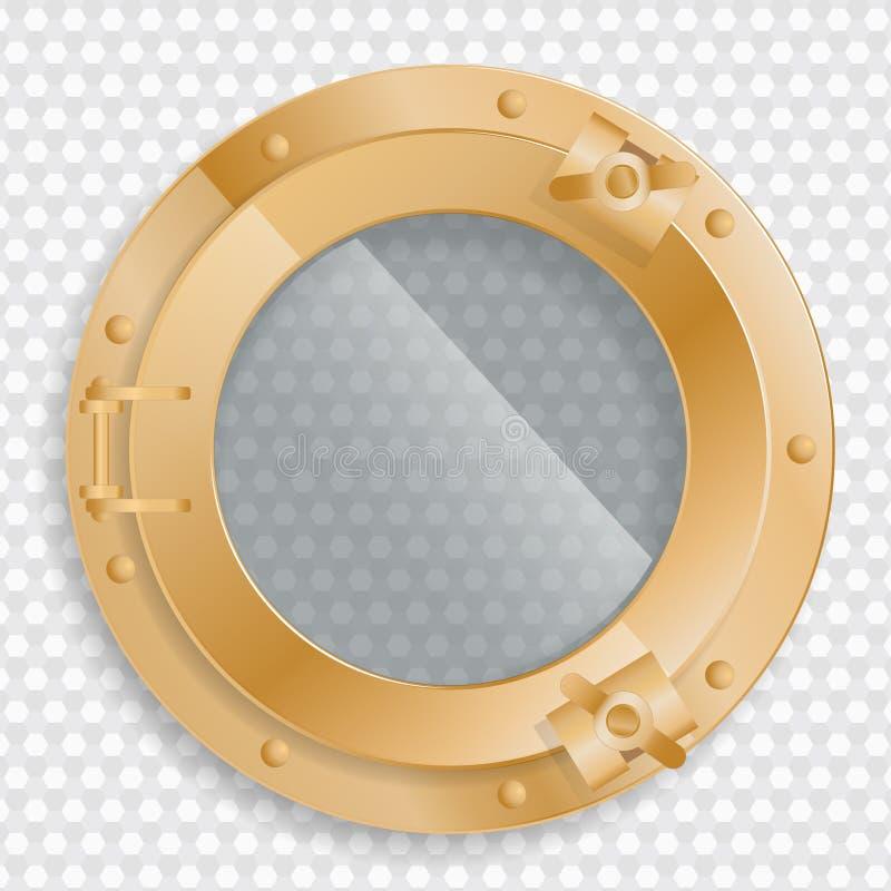 在透明背景的古色古香的黄铜舷窗 皇族释放例证
