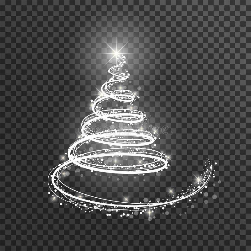 在透明背景的圣诞树 白光作为新年快乐,圣诞快乐的标志的圣诞树 库存例证