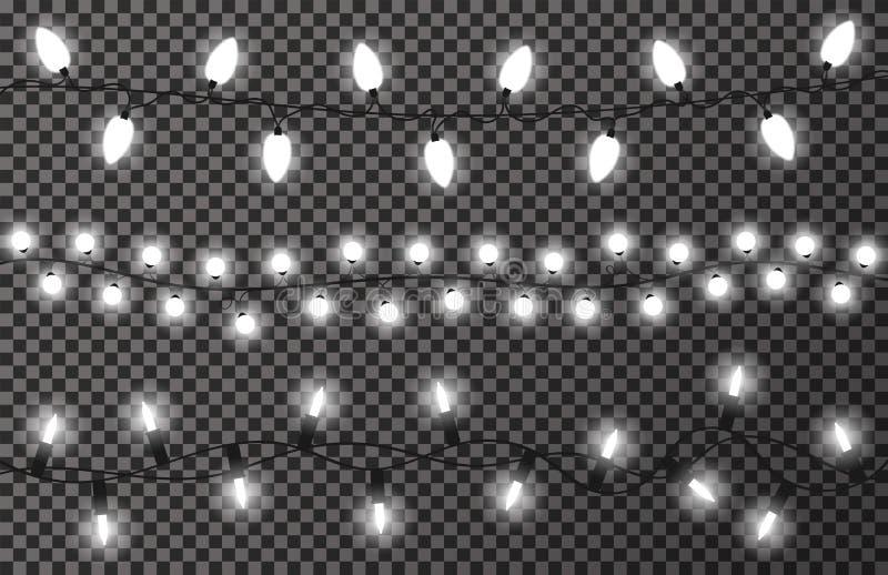 在透明背景的圣诞灯 白色,明亮和发光的圣诞节诗歌选 装饰新年度 皇族释放例证