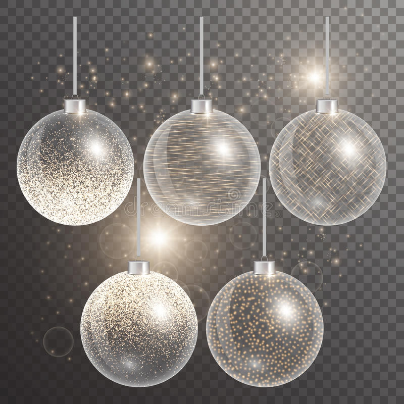 在透明背景的圣诞节球与闪闪发光 库存例证