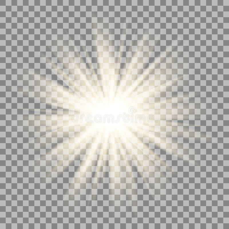 在透明背景的太阳光芒 星火光作用 库存例证
