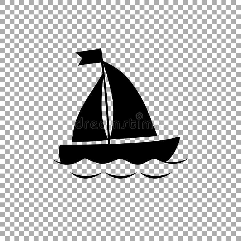 在透明背景的帆船象黑剪影  库存例证
