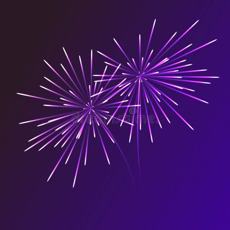 在透明背景的抽象蓝色烟花爆炸 新年庆祝烟花 在黑暗的假日烟花 皇族释放例证