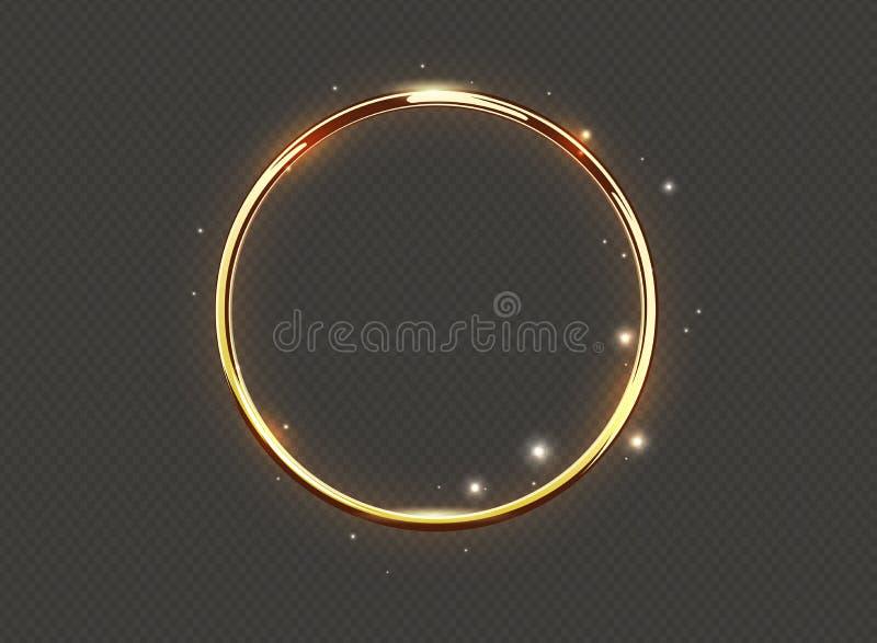 在透明背景的抽象豪华灿烂光辉圆环 导航轻的圈子聚光灯和火花光线影响 金子颜色 向量例证