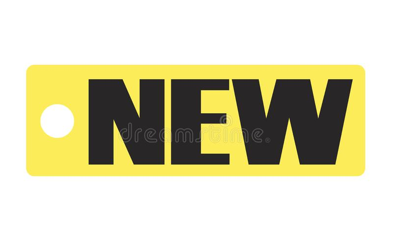 在透明背景的新的标记 新的标签标志 平的样式 n 向量例证