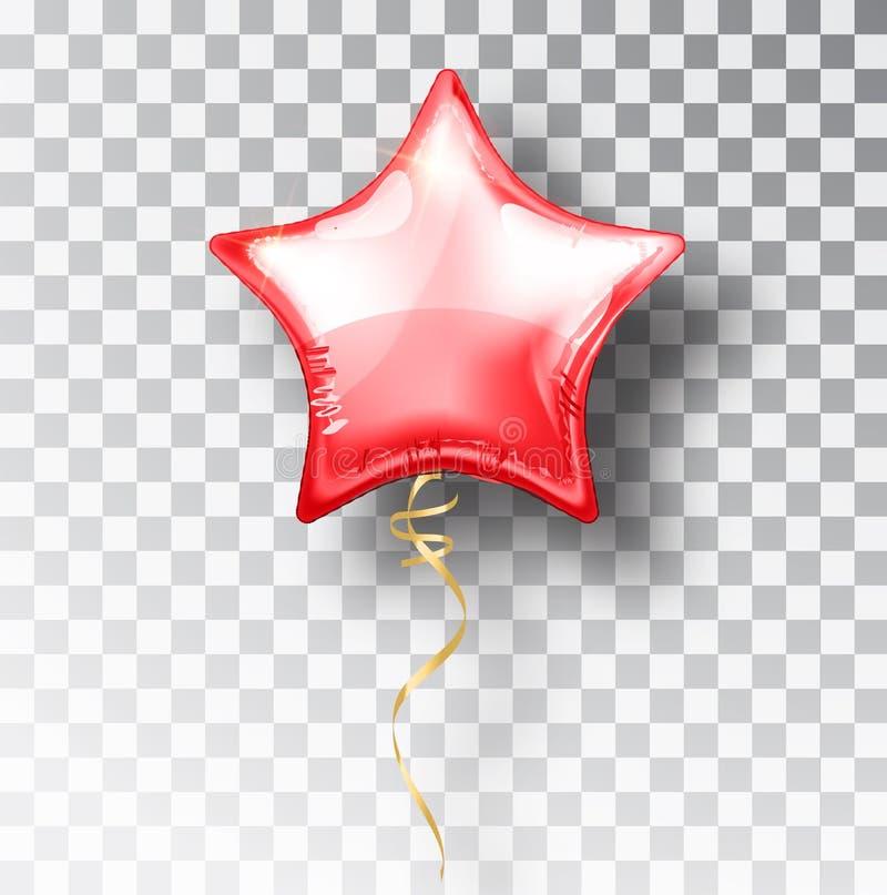 在透明背景的星红色气球 党氦气气球事件设计装饰 气球空气 大模型 库存例证