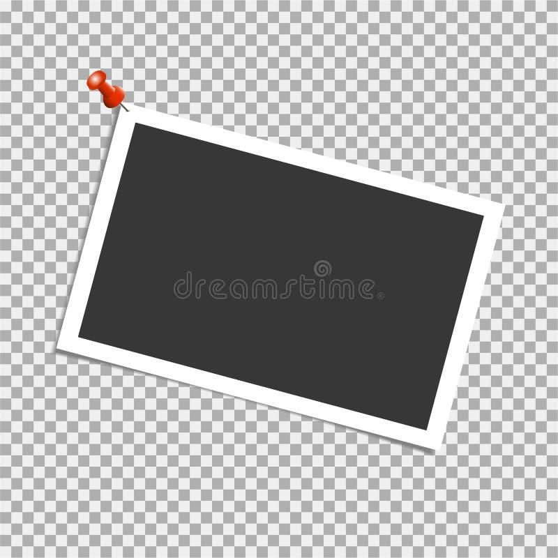 在透明背景的照片框架 传染媒介模板,空白 皇族释放例证