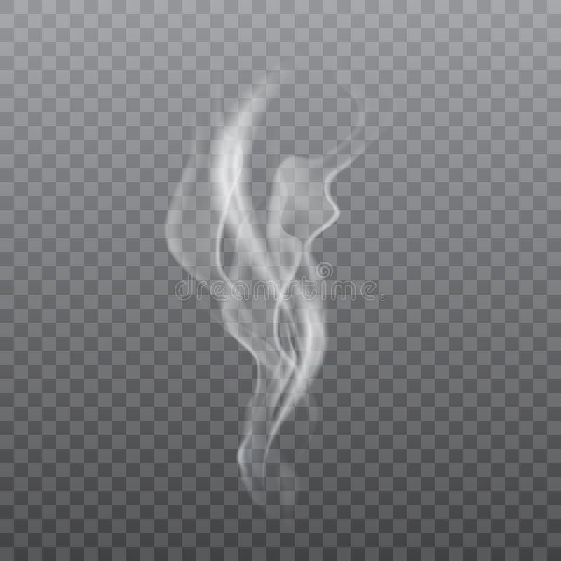 在透明背景的现实白色烟 向量 向量例证